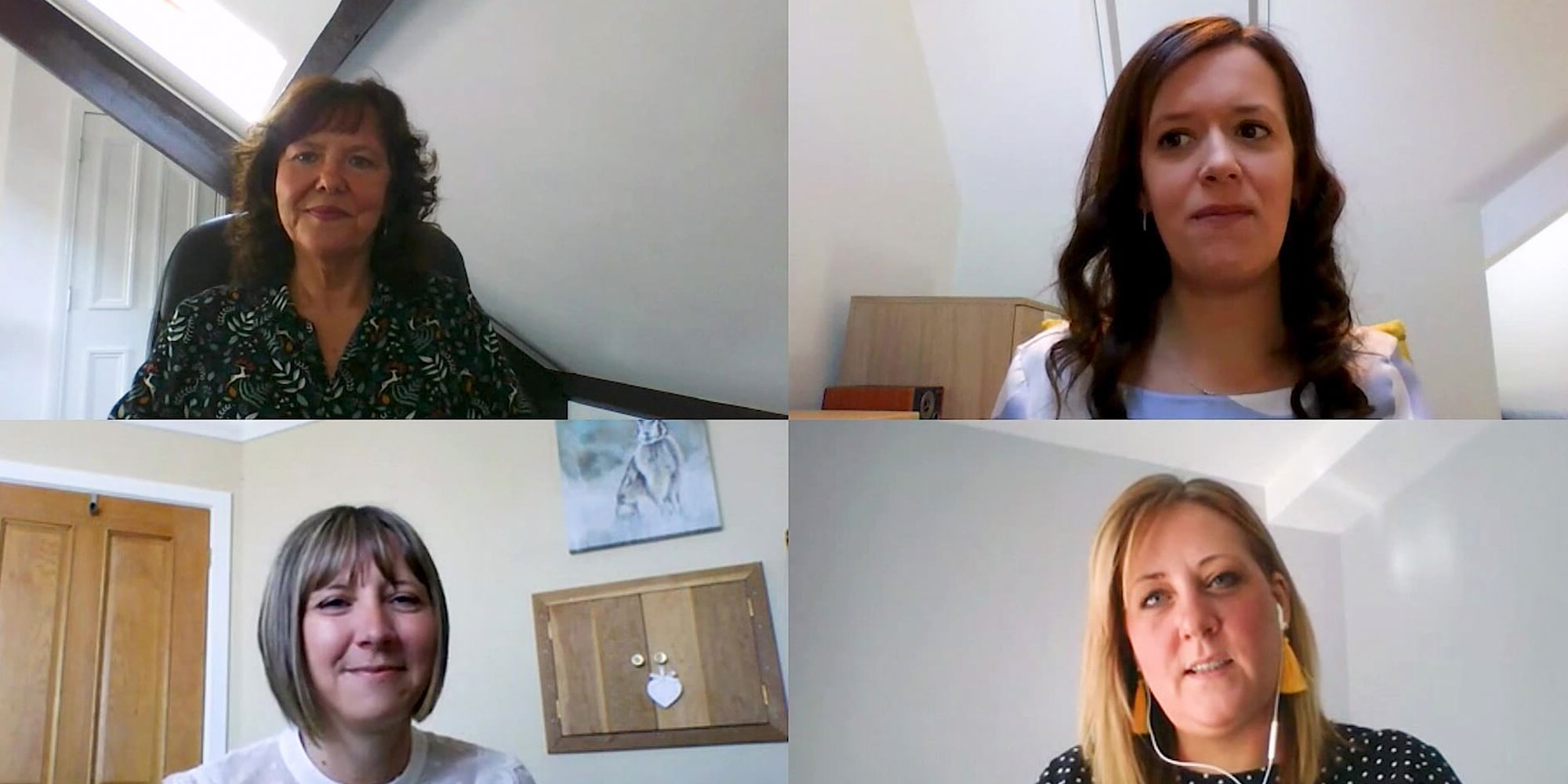Image of host and three academics on webcam during online filming of teacher training webcast